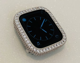 Apple Watch Cover Silver Lab Diamond Bezel-Metal Iwatch Case Bling 38mm 40mm 42mm 44mm 2.5 bzl