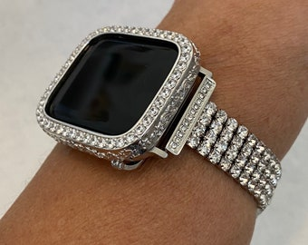 Apple Watch Band Woman Silver and or Engraved Lab Diamond Bezel Iwatch Bling 40mm 44mm Series 6 sb1