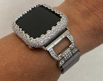 Apple Watch Band Milanese Loop Silver and or Iced Out Lab Diamond Bezel 38mm 40mm 42mm 44mm Series 6 Bling sb1