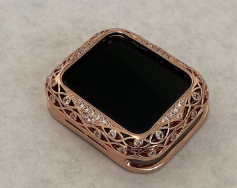 Apple Watch Bezel Cover Rose Gold Metal Cover Lace Design Inset Rhinestones 38mm 40mm 42mm 44mm Series 6 SE  bzl