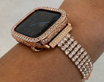 Apple Watch Band 40mm 44mm Rose Gold  and or Engraved Lab Diamond Bezel Cover Iwatch Case Bling Series 6 RPB1