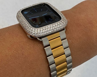 Two Tone Apple Watch Band 38 40 42 44mm Silver Gold and or Lab Diamond Bezel Cover Iwatch Case Iphone Ipad Bling Series 6 gb1