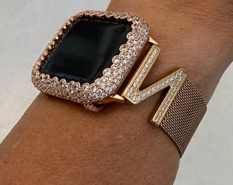 Apple Watch Band Rose Gold Milanese Loop CZ's and or Iwatch Lab Diamond Bezel Case Cover 38mm 40mm 42mm 44mm Series 6 rpb1