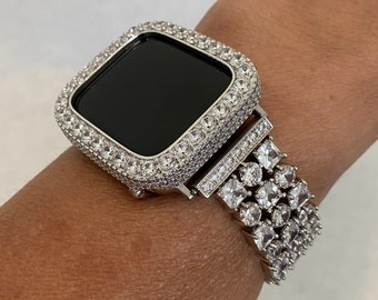 White Gold Apple Watch Band Women 38mm 40mm Silver Crystal and or 3.5mm Lab Diamond Bezel Cover Iwatch Bling S6 sb1