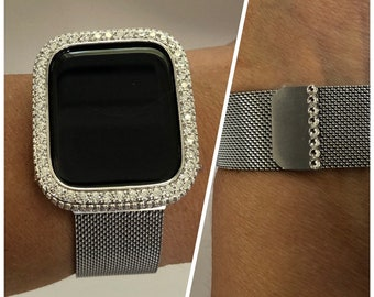 Milanese Band, Apple Watch Band 38mm Silver Swarovski Crystal and or Lab Diamond Bezel Cover Bling Series 6 SE sb1