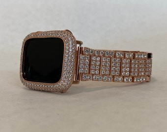 Custom Apple Watch Band Rose Gold 38mm 40mm 42mm 44mm and or Lab Diamond Bezel Cover S6 RPB1
