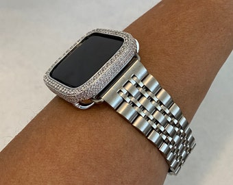 Luxury Apple Watch Band Mens Silver Rolex Style and or Lab Diamond Bezel Iwatch Bling 38mm 40mm 42mm 44mm sb1