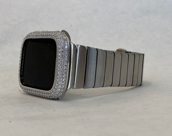 Mens Apple Watch Band Silver 42mm 44mm Stainless Steel and or Lab Diamond Bezel Iwatch Bling Series 6 sb1