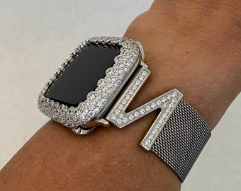 Apple Watch Band Women's Silver Milanese Loop and or Iwatch Lab Diamond Bezel Cover 38mm 40mm 42mm 44mm S6 sb1