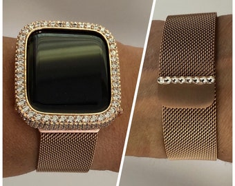 Milanese Loop Apple Watch Band Swarovski Crystal Rose Gold and or Bezel Cover Lab Diamond Bezel Iwatch Case Bling Series 6 rpb1