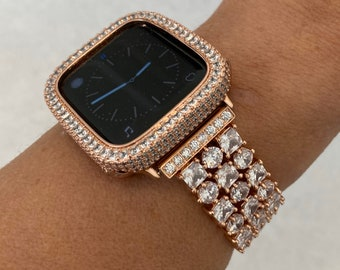 Rose Gold Apple Watch Band 38mm 40mm 42mm 44mm and or Lab Diamond Bezel Cover Iwatch Series 6 SE RPB1