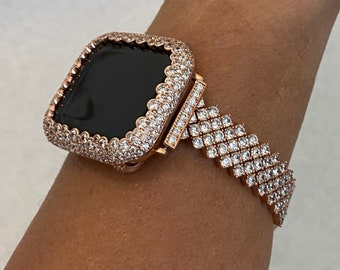 Apple Watch Band Rose Gold Women's and or Lab Diamond Bezel Bumper for Iwatch Band Bling 38mm 40mm 42mm 44mm S6 RPB1