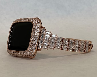 Apple Watch Band Women 38 40 42 44mm Rose Gold & Or Pave Bezel Cover Lab Diamonds Iwatch Case Series 6 SE rpb1