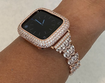 38 40 42 44mm Apple Watch band & or Rose Gold Iwatch Lab Diamond Bezel Case Series 6