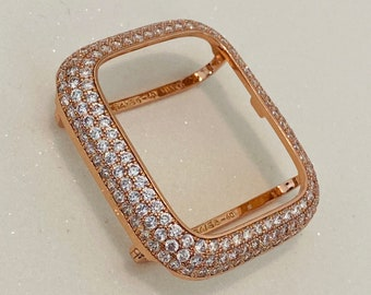 Apple Watch Bezel Cover Lab Diamonds Rose Gold 38mm 40mm 42mm 44mm Iwatch Series 6 Bling bzl