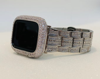 White Gold Apple Watch Band 38mm 40mm 42mm 44mm and or Lab Diamond Pave Bezel Cover Bling Series 6 Ipad Iphone Case sb1