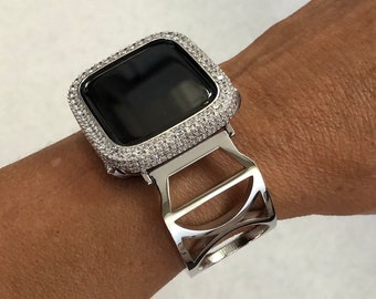 Apple Watch Band Silver Stainless Steel Bangle Apple Watch Cover Lab Diamond Bezel Bling Series 1 2 3 4 5