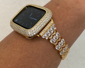 Custom Apple Watch Band Women's Gold and or Pave Lab Diamond Bezel Bumper Bling 38mm 40mm 42mm 44mm S6 gb1