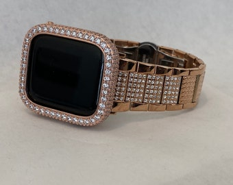 Apple Watch Band Women Rose Gold 38mm 40mm 42mm 44mm Lab Diamond Bezel Cover Iwatch Bling S6 RPB1