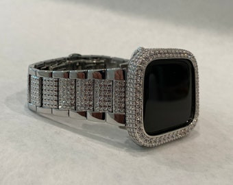 Apple Watch Band Silver Bling Iced Out Apple Watch Bezel Lab Diamond Series 1,2,3,4,5 Custom Deluxe Iwatch