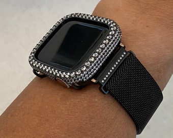 Black Apple Watch Band Milanese Crystal CZ's and or Lab Diamond Bezel Cover Iwatch Bling Series 6 blb1