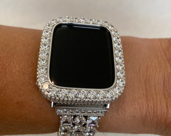 Silver Apple Watch Bezel Cover Bling, 3.5mm Lab Diamond Metal Iwatch Band Case 38mm 42mm bzl