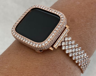 Rose Gold Apple Watch Band Women 38 40 42 44mm & or Lab Diamond Bezel Iwatch Bling Iphone Watch