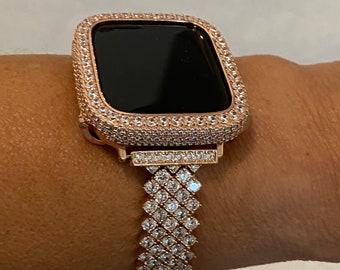 Rose Gold Apple Watch Band Woman 3mm Stones Lab Diamond Bezel Iwatch Bling 38mm 40mm 42mm 44mm rpb1