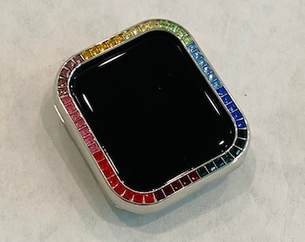 Silver Apple Watch Bezel Cover with Rainbow Crystals 38 40 42 44mm Series 2-6
