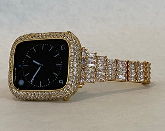 Fits Apple Watch Yellow Gold Custom Baguette Band Crystals & or Diamond Bezel Cover 40mm 44mm Handmade