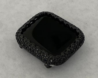 Black Apple Watch Bezel Cover Black Lab Diamond Bezel Iwatch Bumper 40mm 44mm Series 6 SE bzl