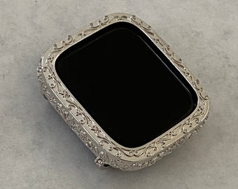 Filigree Apple Watch Bezel Cover Silver Iwatch Case Bumper Iphone Ipad 40mm 44mm bzl