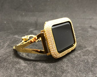 Apple Watch Band 38mm Women Gold Iwatch Band and or Apple Watch Cover with Lab Diamond Bezel