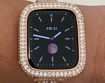 Apple Watch Case Bezel Cover Rose Gold 40MM 44MM 2.5mm Princess Lab Diamonds Crystal Iwatch Band Bling Series 6 bzl