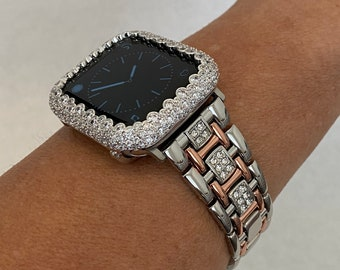 Apple Watch Band 38mm 40mm 42mm 44mm Women Silver Rose Gold and or Lab Diamond Bezel Iwatch Bling S6 sb1