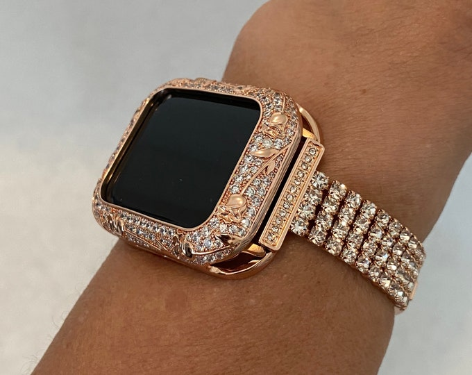 Featured listing image: 38 40 42 44mm Apple Watch Band Women Rose Gold and or Crystal Floral Bezel Cover For Iwatch Series 6 SE