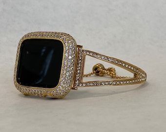 Gold Bangle, Crystal Apple Watch Band 38mm Women and or Apple Watch Cover Lab Diamond Bezel Bling gb1