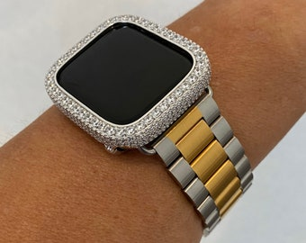 Two Tone Apple Watch Band Women Mens 38mm 40mm 42mm 44mm and or Lab Diamond Bezel Cover Iwatch Series 6 SE sb1