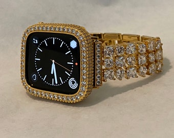 Womens Apple Watch Band Gold 38mm 40mm 42mm 44mm or Lab Diamond Bezel Iwatch Bling gb1