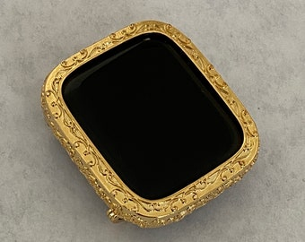 Filigree Apple Watch Bezel Bumper Metal Iwatch Face Cover in Gold 40mm 44mm Series 6 SE bzl