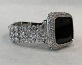 Apple Watch Band Women Silver and or Apple Watch Cover Bezel Lab Diamond Bling 38mm 40mm 42mm 44mm Series 6 SE sb1