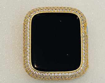 Iced Out Gold Apple Watch Bezel Cover Lab Diamonds Metal Iwatch Band Bling 38mm 40mm 42mm 44mm Series 6 SE bzl