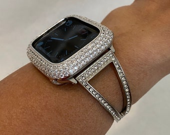 Silver Apple Watch Band Zirconia Crystal and or Lab Diamond Bezel Cover Iwatch Bling 38mm 40mm 42mm 44mm sp1
