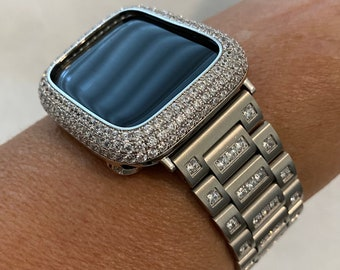 Apple Watch Band Silver Crystal & or Lab Diamond Bezel Cover 38mm 40mm 42mm 44mm Series 6