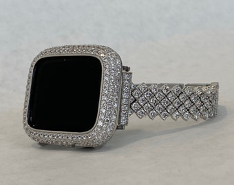 Series 6 Apple Watch Band 40mm Woman Silver and or Lab Diamond Bezel Cover 38mm 42mm 44mm Iwatch Bling sb1