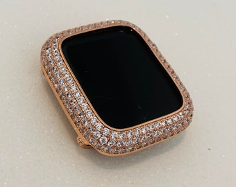 Bling Apple Watch Bezel Cover 38 40 42 44mm Rose Gold Lab Diamond Metal Iwatch Band Case Series 1,2,3,4,5,6,SE bzl