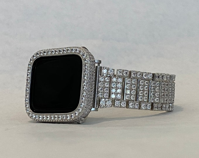 Featured listing image: Iced Out Apple Watch Band Silver Bling and or Bezel Cover Lab Diamond Iwatch 38mm 40mm 42mm 44mm Series 6 SE sb1