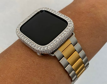 Apple Watch Band Women Mens Two Tone 38mm 40mm 42mm 44mm and or Lab Diamond Bezel Cover Iwatch Series 6 SE gb1