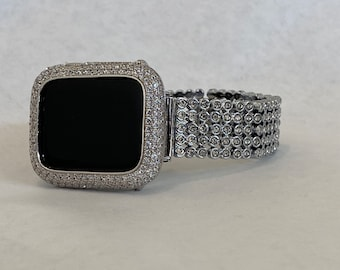 White Gold Apple Watch Band Women Silver and or Lab Diamond Apple Watch Cover Bezel Bling Iwatch Case 38 40 42 44mm sb1