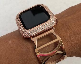 Rose Gold Apple Watch Band 38mm 40mm 42mm 44mm Bangle Bracelet Apple Watch Cover Lab Diamond Bezel Bling rpb1